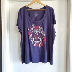 Torrid T-Shirt Navy Blue Sugar Skull Size 3